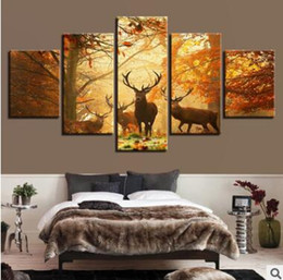 Discount wall beds more - Wall Art Canvas Pictures 5 Panels Modern Landscape Maple Leaf Elk No Frame Painting Canvas Art Wall Picture For Bed Room