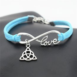 infinity symbol pendant wholesale NZ - 2019 New Punk Silver Infinity Love Triangle Triquetra Symbol Trinity Knot Pendant Jewelry For Women Men Blue Leather Suede Rope Diy Bracelet