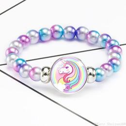 Chridren Unicorn Glass Charm Bracelet Acrylic Bead Chunk Snap Button Elastic Bangle Kids Cartoon Designer Jewelry Christmas Birthday Gift on Sale