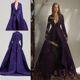 modern evening dress jackets NZ - Purple Long Sleeve Evening Jumpsuit with Long Coat Jacket 2020 Modern Saiid Kobeisy V-neck Custom Make Lace Embroidery Prom Dress