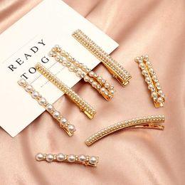 simple hair clips 2019 - Korean Sweet Clips Women Fashion Hair Accessories Metal Pearl Hairpins Lady Simple Hair Clip Barrette Headwear Styling T