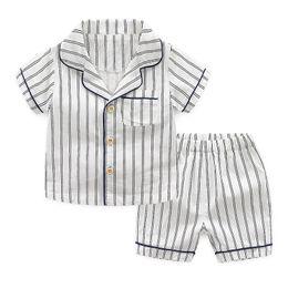 Boys pajamas shorts cotton online shopping - Kids Unisex Pajamas Striped White Blue Clothing Set Boys Girls Single Breasted Pocket Children Designer Clothes T
