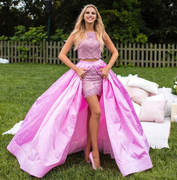 $enCountryForm.capitalKeyWord NZ - Two Piece Crystal Beaded evening dresses Pink 2019 Taffeta Skirt prom dress evening gowns Split Skirt Plus Size Formal Gowns