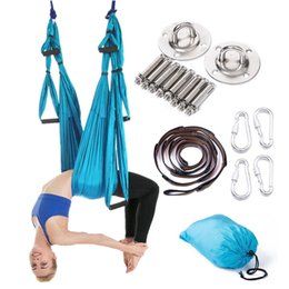 Discount aerial yoga - Full Anti-gravity Aerial Yoga Hammock Set Multifunction Yoga Belt Flying Inversion Tool for Pilates Body Shaping 15 Colo