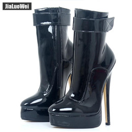 "Purple Martin Boots Australia - Women Ankle Boots 18cm 7"" Ultra High Heels 2018 Fashion Sexy Woman Platform Martin Boots Strap Ladies Pole Dance Shoes Female Botas Feminina"