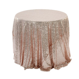 round table cloths wholesale UK - wholesale hotel antependium restaurant wedding table cloth rose gold embroidered tablecloth sequin tablecloth Factory direct sale 16 sizes