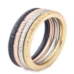 lover gift china UK - Circles Gold Rose Gold Silver Black Ring four Colors Luxury Jewelry stainless steel Ring Women Wedding Finger Rings For Lovers Gift