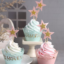 Birthday Party Cupcakes Australia - 10PCS Lot Twinkle Little Stars Cupcake Toppers Kids Birthday Party Decorations Wedding Event Party Supplies Cupcake Toppers
