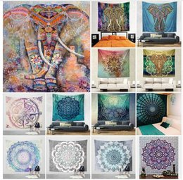 mat wholesale 2019 - Tapestry Hippy Mandala Bohemian Wall Blanket Art Decorative Hanging Elephant Tapestry Beach Cover Polyester Tablecloth Y