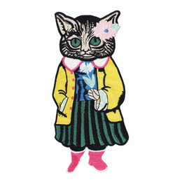 $enCountryForm.capitalKeyWord UK - 2pieces Fashion Brand Embroidery Cat Fabric Patches Applique Motif Scrapbooking Clothes Decorated Sewing Accessories TH940