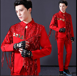 Collar Design Suits Australia - Red sequins blazer men suits designs jacket mens stage costumes for singers clothes dance star style dress punk rock masculino stand collar