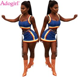 Discount night suit for summer - Adogirl Colorful Braid Jeans Two Piece Set for Women Sexy Cropped Tank Top Mini Skirt Female Night Club Outfit Summer Su
