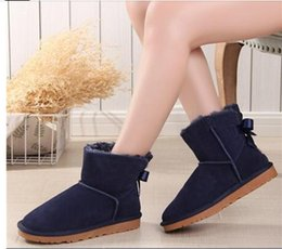 flat bow lace shoes 2020 - 2019 women australie winter boots women shoes bota mujer leather shoes women boots australia ankle snow boots bow lace p