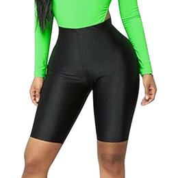 Femmes taille haute brillant fluorescent Fitness Casual Shorts Lady Half Glitter Silky Sport Shorts Cyclisme recadrée Nuit Clubwear