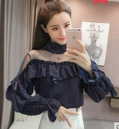 Wholesale high ruffle collar blouse resale online - New Arrival Hot Sale Special Fashion Female Blouses Korean Version Super Fairy Sweet Dot High Stand Collar Ruffled Sleeves Top Tide Shirt
