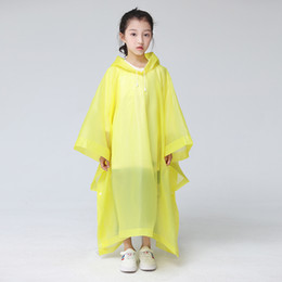 Wholesale tour coat resale online - Lightweight Plastic Raincoat Transparent Disposable Color Disposable Hooded Poncho Rain Coat Large Size Tour Must Rainwear Kids cj E19