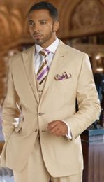 Suit Beige Australia - Custom Made Men's Beige Wedding Suits 3 Pieces Formal Groom Tuxedos Prom Groomsman Best Man Party Prom Suit(Jacket+Pant+Vest)