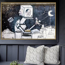 art canvas prints Australia - Moon Urban Street Art Graffiti Art Poster Wall Photo Pictures Wall Art Room Wall Decor Painting Canvas Print No Frame