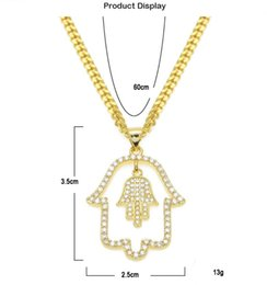 diamond fatima hand Australia - Gold Plated Diamonds Fatima Hand Round Diamond Necklace Hip Hop Pendant