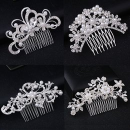 Wholesale Wedding Tiaras Stunning Fine Comb Bridal Head Piece Jewelry Accessories Crystal Pearl Hair Brush hairpin for bride