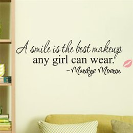 Marilyn Monroe Stickers For Walls Australia - a smile is the best makeup Marilyn Monroe inspirational quote wall stickers girl 8129. home decor vinyl decal room mural art 4.0