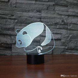 baby panda night light UK - Panda 3D Illusion Night Light Touch 7 Color Change Home Decor Baby Girl Boy LED Lamp Kids Gift Christmas Xmas Gifts
