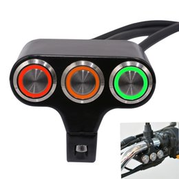 Motorcycle Lights Switch Australia - High Quality Motorcycle Aluminum Alloy Three-position Faucet Handlebar Switch Self-locking Self-reset Button with Light Motorcycle Parts