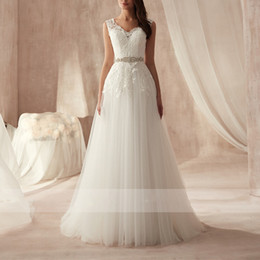 $enCountryForm.capitalKeyWord NZ - Simple White Lace Wedding Dresses 2019 Sexy V Neck A Line Bridal Dresses Backless Country Bridal Gowns Floor Length Boho Wedding Gowns