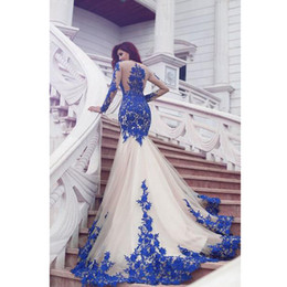Großhandel 2019 Neue Ankunft Langarm Royal Blue Lace Abendkleider Meerjungfrau Tüll Abendkleider 2019 Neueste