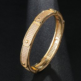 Pave link chain bracelet online shopping - Hip Hop Men s Iced Out Wave Bangle Bracelet Personality Micro Paved Bling CZ Bracelets For Men Women Rapper Jewelry