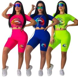 $enCountryForm.capitalKeyWord NZ - Womens tracksuit 2 piece set fashion colorful lips suit girl sports suit short-sleeved and half-length pants suit summer clothing S-2XL