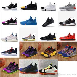 huge discount 5f6d4 91aa5 Mens kobe ad mid basketball shoes Black White Purple Yellow Team red Blue new  colors youth kids KB 12 XII elite Generation sneakers with box