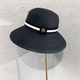 Sun hat cap Straw online shopping - G Letter Beach Straw Hat Fashion Wide Brim Sunscren Hat Casual Travel Camping Sun Cap Woman Cute Dome Caps TTA900