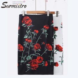 Black White Rose Prints Australia - Surmiitro Rose Print Pencil Skirt Women 2019 Spring Summer Fashion Midi Knee Length Black White Office High Waist Skirt Female