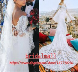 White lace summer Wedding dress online shopping - Sheer Poet Sleeves Mermaid Lace Wedding Dresses Off shoulders Bridal Dress Lace Up Back Sexy Trumpet Wedding Gowns Custom Vestidos De Novia