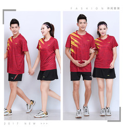 $enCountryForm.capitalKeyWord Australia - LI NING 7305 Quick-drying Breathable Badminton Suit Short Sleeve round neck T-shirt shorts Running Basketball wear Men&Women&Kids red