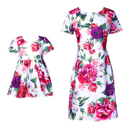 mother daughters party dresses NZ - Mom Daughter Dresses Mother Girls Party Dress Kids Girls Dress Women Plus Size Dress Summer Match Floral Print Family Outfits Clothes S349