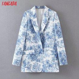 Blazers for women color Blue online shopping - Tangada fashion tree print blue suit blazer for female long sleeve notched collar female blazer elegant ladies work tops