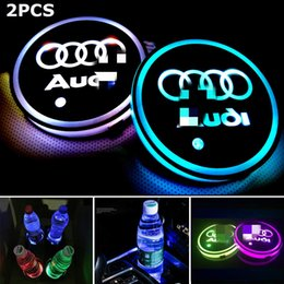 Lights for interior car online shopping - 2pcs LED Car Cup Holder Lights for Audi Colors Changing USB Charging Mat Luminescent Cup Pad LED Interior Atmosphere Lamp