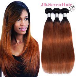1b Straight Hair Australia - Ombre 1B 30 Brazilian Virgin Human Hair Straight 3 Bundles Two Tone Malaysian Peruvian Indian Double Machine Hair Wefts With Thick Bottom