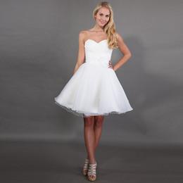 Wedding Dress Pleated Skirt Flowers NZ - 2019 Hot Sale Short Mini A-Line Wedding Dresses Sweetheart Neckline Backless Pleats Taffeta Flowers Dot Tulle Organza Skirt Vestido De Noiva