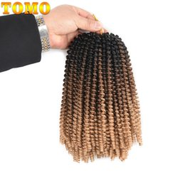 spring hairs Canada - TOMO Hair Crochet Braids Hair Extensions 8 inch 30 strands pack Synthetic Spring Twist Ombre braiding hair Curly twist