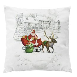 Soft Toys Cushions Home UK - Hot Christmas series super soft pillow cover, The newest Santa Claus elk creative home cushion cover