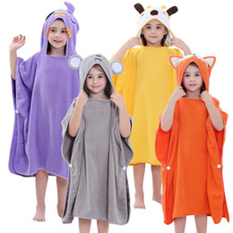 beach bathing robes NZ - Children's Cartoon Poncho Towel Beach Cloak Towels Baby Kids Cotton Bathrobes Sunscreen Bathing Suit Girls Boys Bath Robe Child SH190912