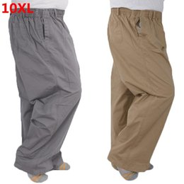 Wholesale elastic band pants resale online – Plus Size pants XL Middle aged Men s Summer Thin Elastic Band High Waist Cotton Casual Trousers Dad Oversize XL XL XL XL