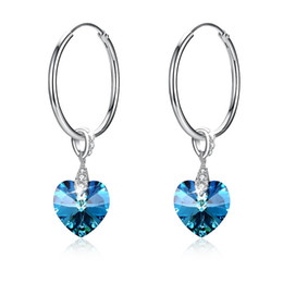 circle shape earrings Canada - Crystal from swarovski element S925 sterling silver heart-shaped crystal circle pendant earrings SVE320 jewelry gift for women girls