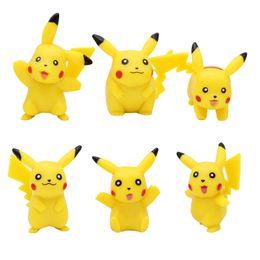 Stock Figures Australia - New 6pcs 3-5cm pikachu Figures Pock PVC Action Figure minifigures yellow Pikachu DIY Toys Dolls Free shipping in stock