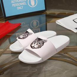 Cat Print Flats Australia - pre-fall 2019 mens womens luxe designer cat print rubber slide sandals home travel flat slippers easy to wear