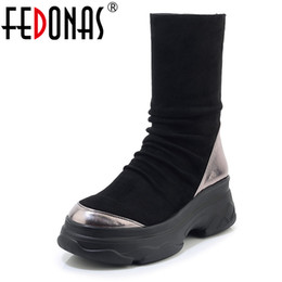 Discount calf socks - FEDONAS Female Platforms Shoes Women Mid-calf Boots Winter Sports Casual Shoes Woman Round Toe Zipper Hiigh Heels Socks