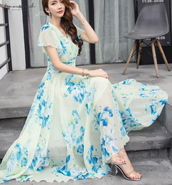 Chiffon flower long dresses online shopping - Shipping Free Bohemian Printed S Xl Summer New Arrival Collect Waist Flare Sleeve Flower Style Woman Chiffon Long Dress Designer Clothes